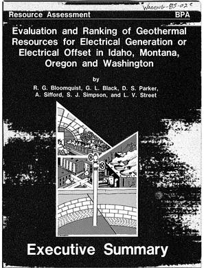 Primary view of object titled 'Evaluation and Ranking of Geothermal Resources for Electrical Generation or Electrical Offset in Idaho, Montana, Oregon and Washington. Executive Summary'.