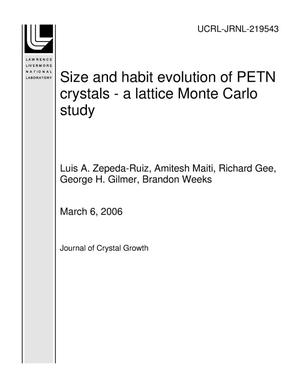 Primary view of object titled 'Size and habit evolution of PETN crystals - a lattice Monte Carlo study'.