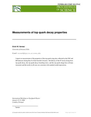 Primary view of object titled 'Measurements of top quark decay properties'.