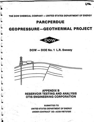 Primary view of object titled 'Parcperdue Geopressure--Geothermal Project: Appendix B'.