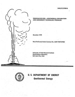 Primary view of object titled 'Program Review - Geothermal Exploration and Assessment Technology Program; Including a Report of the Reservoir Engineering Technical Advisory Group'.