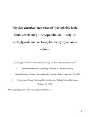 Primary view of object titled 'Pysico-chemical properties of hydrophobic ionic liquids containing1-octylpyridinium, 1-octyl-2-methylpyridinium or1-octyl-4-methylpyridinium cations'.