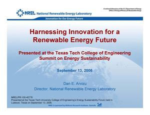 Primary view of object titled 'Harnessing Innovation for a Renewable Energy Future (Presentation)'.