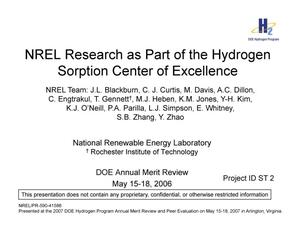 Primary view of object titled 'NREL Research as Part of the Hydrogen Sorption Center of Excellence (Presentation)'.