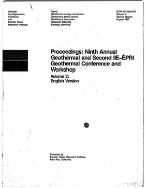 Primary view of object titled 'Proceedings: Ninth Annual Geothermal and Second IIE-EPRI Geothermal Conference and Workshop. Vol. 2. English Version'.