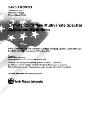 Primary view of object titled 'Exploration of new multivariate spectral calibration algorithms.'.