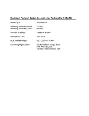 Primary view of object titled 'Southeast Regional Carbon Sequestration Partnership (SECARB)'.