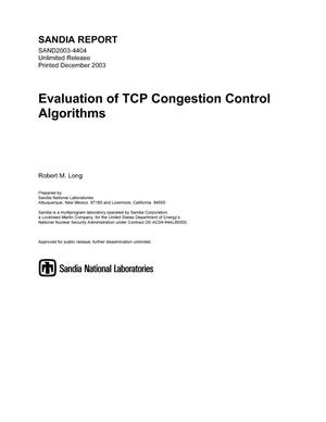 Primary view of object titled 'Evaluation of TCP congestion control algorithms.'.
