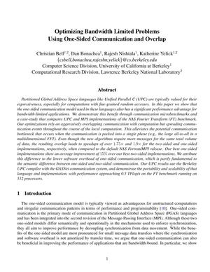 Primary view of object titled 'Optimizing Bandwidth Limited Problems Using One-SidedCommunication and Overlap'.