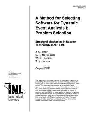 Primary view of object titled 'A METHOD FOR SELECTING SOFTWARE FOR DYNAMIC EVENT ANALYSIS I: PROBLEM SELECTION'.