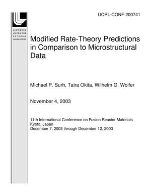 Primary view of object titled 'Modified Rate-Theory Predictions in Comparison to Microstructural Data'.
