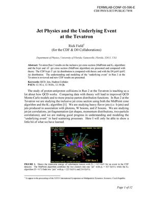 Primary view of object titled 'Jet physics and the underlying event at the Tevatron'.