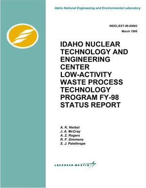 Primary view of object titled 'Idaho Nuclear Technology and Engineering Center Low-Activity Waste Process Technology Program FY-98 Status Report'.