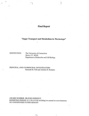 Primary view of object titled 'Sugar Transport and Metabolism in Thermotoga'.