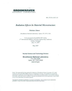 Primary view of object titled 'RADIATION EFFECTS IN MATERIAL MICROSTRUCTURE.'.