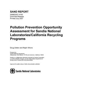 Primary view of object titled 'Pollution prevention opportunity assessment for Sandia National Laboratories/California recycling programs.'.