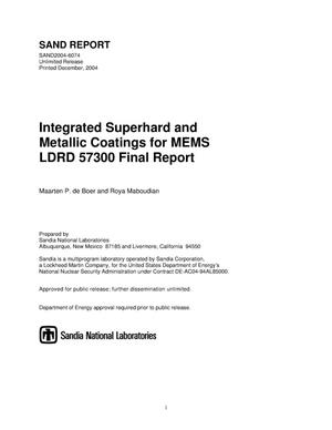 Primary view of object titled 'Integrated superhard and metallic coatings for MEMS : LDRD 57300 final report.'.