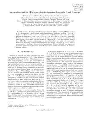 Primary view of object titled 'Improved Method for CKM Constraints in Charmless Three-body B and Bs Decays'.
