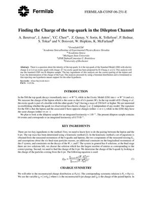 Primary view of object titled 'Finding the charge of the top quark in the dilepton channel'.