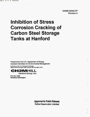 Primary view of object titled 'INHIBITION OF STRESS CORROSION CRACKING OF CARBON STEEL STORAGE TANKS AT HANFORD'.