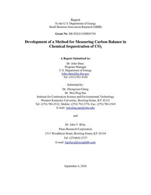 Primary view of object titled 'Development of a Method for Measuring Carbon Balance in Chemical Sequestration of CO2'.