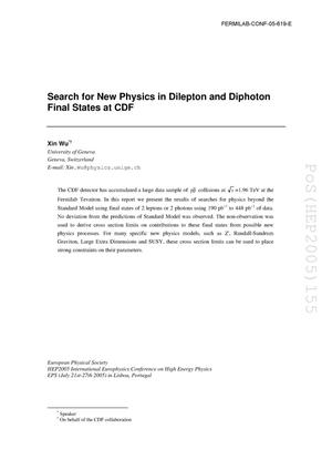 Primary view of object titled 'Search for new physics in dilepton and diphoton final states at CDF'.