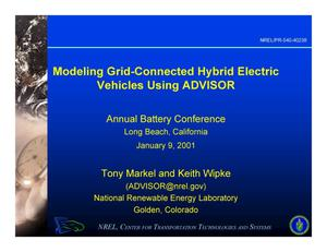 Primary view of object titled 'Modeling Grid-Connected Hybrid Electric Vehicles Using ADVISOR (Presentation)'.