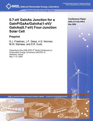 Primary view of object titled '0.7-eV GaInAs Junction for a GaInP/GaAs/GaInAs(1-eV)/GaInAs(0.7-eV) Four-Junction Solar Cell: Preprint'.