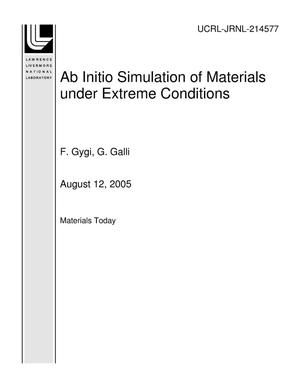 Primary view of object titled 'Ab Initio Simulation of Materials under Extreme Conditions'.