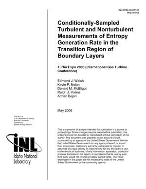Primary view of object titled 'Conditionally-Sampled Turbulent and Nonturbulent Measurements of Entropy Generation Rate in the Transition Region of Boundary Layers'.