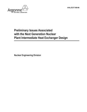 Primary view of object titled 'Preliminary issues associated with the next generation nuclear plant intermediate heat exchanger design.'.