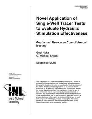 Primary view of object titled 'Novel Application of Single-Well Tracer Tests to Evaluate Hydraulic Stimulation Effectiveness'.