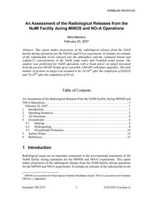 Primary view of object titled 'Assessment of radiological releases from the NuMI facility during MINOS and NOvA operations'.