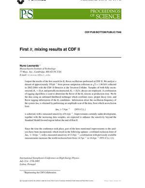 Primary view of object titled 'First B/s mixing results at CDF II'.
