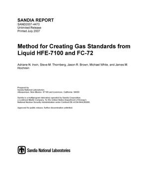 Primary view of object titled 'Method for creating gas standards form liquid HFE-7100 and FC-72.'.