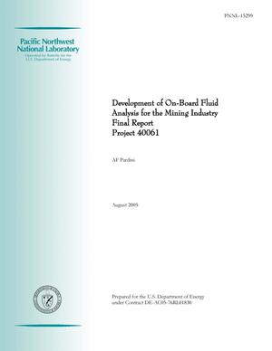 Primary view of object titled 'Development of On-Board Fluid Analysis for the Mining Industry - Final report'.