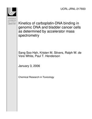 Primary view of object titled 'Kinetics of carboplatin-DNA binding in genomic DNA and bladder cancer cells as determined by accelerator mass spectrometry'.