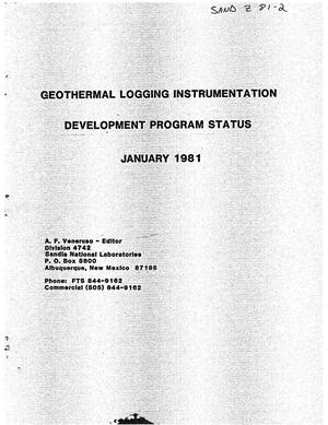 Primary view of object titled 'Geothermal Logging Instrumentation Development Program Status'.