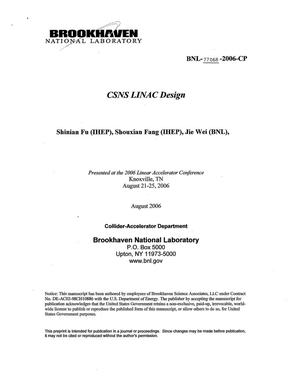 Primary view of object titled 'CSNS LINAC DESIGN'.