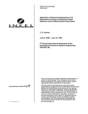 Primary view of object titled 'Application of Systems Engineering to U.S. Department of Energy Privatization Project Selection at the Hanford Nuclear Reservation'.