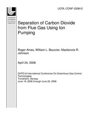 Primary view of object titled 'Separation of Carbon Dioxide from Flue Gas Using Ion Pumping'.