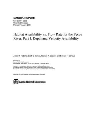 Primary view of object titled 'Habitat availability vs. flow rate for the Pecos River, Part 1 : Depth and velocity availability.'.