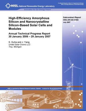 Primary view of object titled 'High-Efficiency Amorphous Silicon and Nanocrystalline Silicon Based Solar Cells and Modules: Annual Technical Progress Report, 30 January 2006 - 29 January 29, 2007'.
