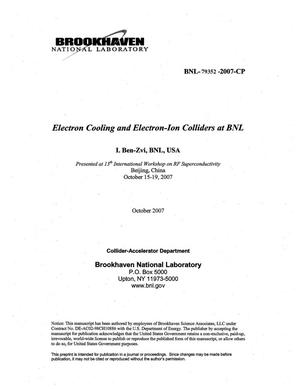 Primary view of object titled 'ELECTRON COOLING AND ELECTRON-ION COLLIDERS AT BNL.'.