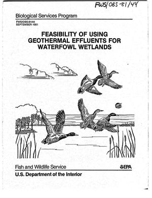Primary view of object titled 'Feasibility of using geothermal effluents for waterfowl wetlands'.