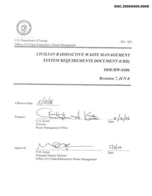 Primary view of object titled 'Civilian Radioactive Waste Management System Requirements Document'.