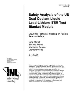 Primary view of object titled 'Safety Analysis of the US Dual Coolant Liquid Lead-Lithium ITER Test Blanket Module'.
