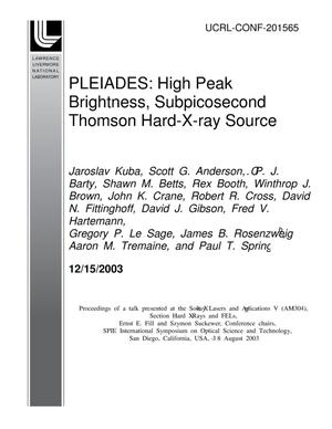 Primary view of object titled 'PLEIADES: High Peak Brightness, Subpicosecond Thomson Hard-X-ray source'.