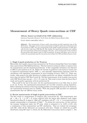 Primary view of object titled 'Measurement of Heavy Quark cross-sections at CDF'.