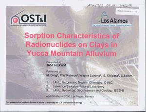 Primary view of object titled 'Sorption Characteristics of Radionuclides on Clays in Yucca Mountain Alluvium'.